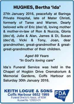 HUGHES, Bertha 'Ida'   27th January 2016, peacefully at Baringa Private Hospital,...