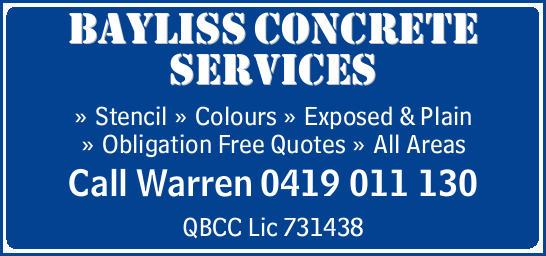 WARREN BAYLISS CONCRETING SERVICES    Stencil  Colour  Exposed & Plain   ...