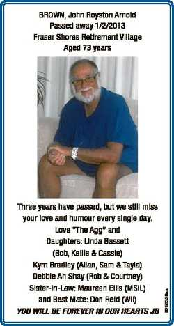 "Three years have passed, but we still miss your love and humour every single day. Love ""The Agg..."
