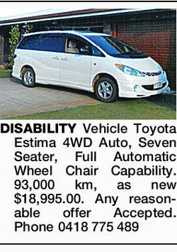 DISABILITY Vehicle Toyota Estima 4WD Auto, Seven Seater, Full Automatic Wheel Chair Capability. 9...