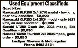 Used Equipment Classifieds Quadbikes Kawasaki KLF250 2x4 2010 model - low kms, near new condition -...