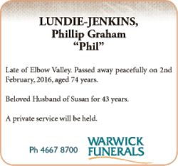 Late of Elbow Valley. Passed away peacefully on 2nd February, 2016, aged 74 years. Beloved Husban...