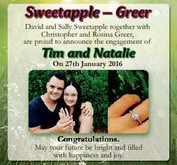 Sweetapple - Greer David and Sally Sweetapple together with Christopher and Rosina Greer, are proud...