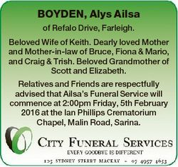BOYDEN, Alys Ailsa of Refalo Drive, Farleigh. Beloved Wife of Keith. Dearly loved Mother and Mother-...