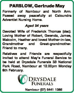 PARSLOW, Gertrude May Formerly of Nambour and North Arm. Passed away peacefully at Caloundra Adventi...