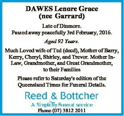 DAWES Lenore Grace (nee Garrard) Late of Dinmore. Passed away peacefully 3rd February, 2016. Aged 92...