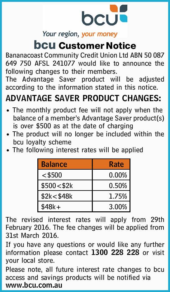 Bananacoast Community Credit Union Ltd ABN 50 087 649 750 AFSL 241077 would like to announc...