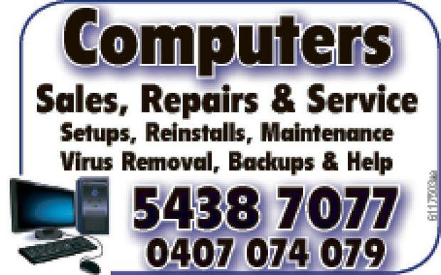 Computers     Sales Repairs & Service Setups  Reinstalls  Maintenance Virus...