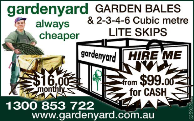 gardenyard always cheaper   GARDEN BALES & LITE SKIPS SKIPS 2-3-4-6 Cubic meter   $...