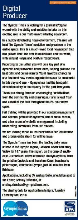 Digital Producer [Opportunities with APN] The Gympie Times is looking for a journalist/digital wizar...