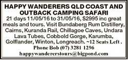 HAPPY WANDERERS QLD COAST AND OUTBACK CAMPING SAFARI 21 days 11/05/16 to 31/05/16, $2995 inc great m...