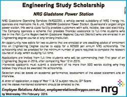 NRG Gladstone Power Station   Engineering Study Scholarship NRG Gladstone Operating Ser...