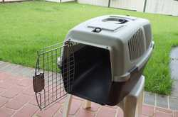 New, never used, pet carry cage with mattress. 60 cm X 30 cm X 33 cm