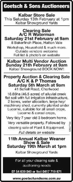 Goetsch & Sons Auctioneers        Kalbar Store Sale       Thi...