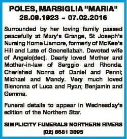 """POLES, MARSIGLIA """"MARIA"""" 28.09.1923  07.02.2016 Surrounded by her loving family passed pea..."""