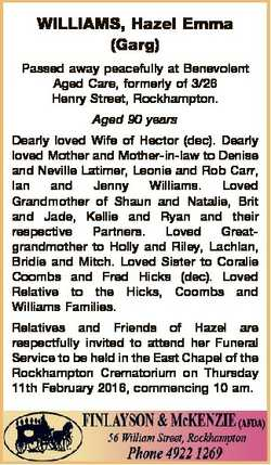 WILLIAMS, Hazel Emma (Garg) Passed away peacefully at Benevolent Aged Care, formerly of 3/26 Henry S...