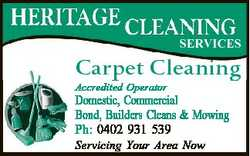 SERVICES Carpet Cleaning Accredited Operator Domestic, Commercial Bond, Builders Cleans & Mowing...