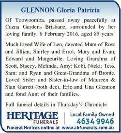GLENNON Gloria Patricia Of Toowoomba, passed away peacefully at Cazna Gardens Brisbane, surrounded b...
