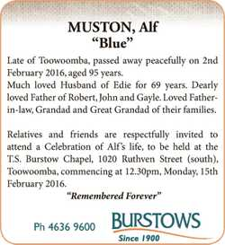 Late of Toowoomba, passed away peacefully on 2nd February 2016, aged 95 years. Much loved Husband...