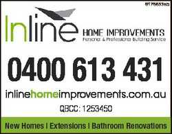 6178833ab 0400 613 431 inlinehomeimprovements.com.au QBCC: 1253450 New Homes | Extensions | Bathroom...