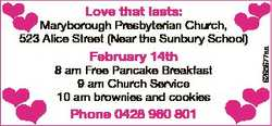 Love that lasts: Maryborough Presbyterian Church, 523 Alice Street (Near the Sunbury School) Februar...