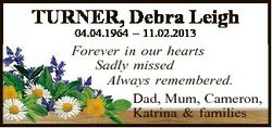 TURNER, Debra Leigh 04.04.1964 - 11.02.2013 Forever in our hearts Sadly missed Always remembered. Da...