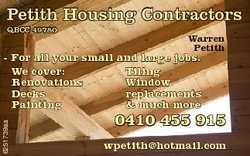 Petith Housing Contractors QBCC 49780 Warren Petith 6251739aa - For all your small and large jobs. W...