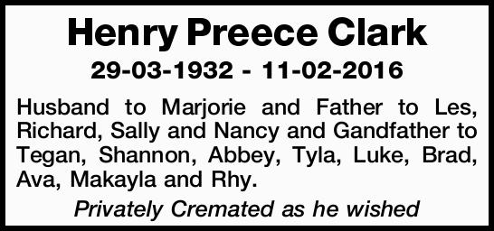 29-03-1932 - 11-02-2016 Husband to Marjorie and Father to Les, Richard, Sally and Nancy and Gandf...