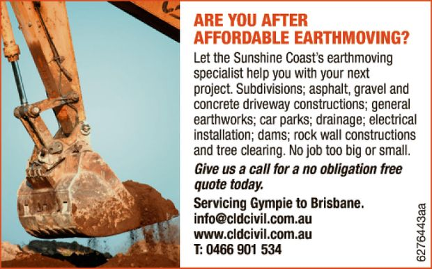 Let the Sunshine Coast's earthmoving specialist help you with your next project. 