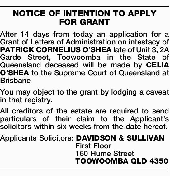 examiner classifieds notice Sydney