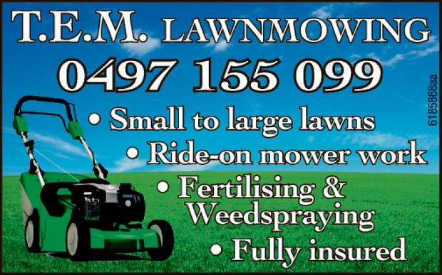 Small to large lawns  Ride-on mower work  Fertilising and Weedspraying  Fully...