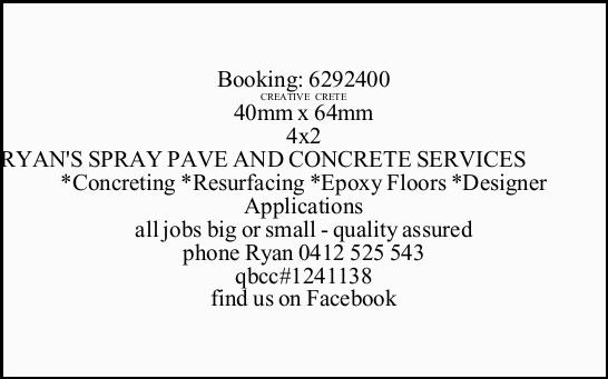 *Concreting *Resurfacing *Epoxy Floors *Designer Applications all jobs big or small - quali...