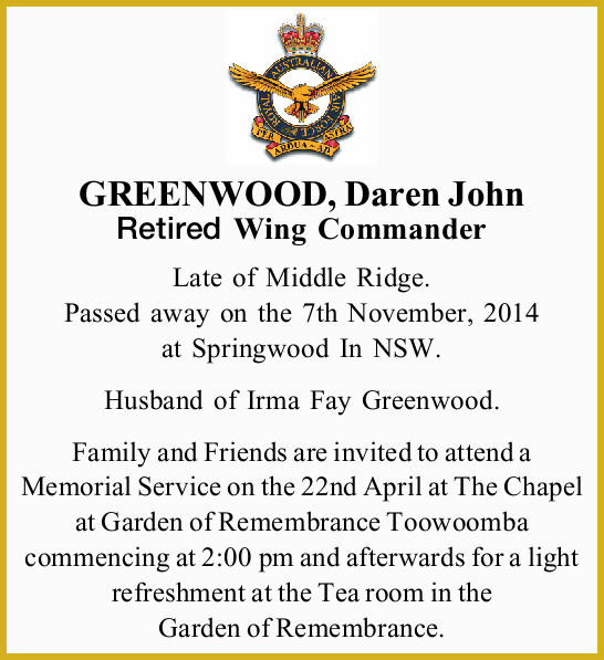 GREENWOOD, Daren John
