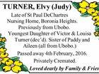 TURNER, Elvy (Judy)