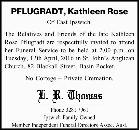 PFLUGRADT, Kathleen Rose
