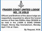 FRASER COAST UNITED LODGE NO. 19 UGLQ