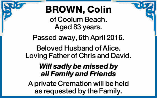 of Coolum Beach. Aged 83 years.