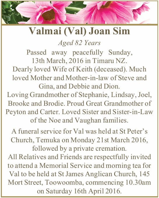 Valmai (Val) Joan Sim