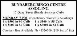 17 Quay Street (Bundy Services Club) MONDAY 7 PM (Beneficiary Women's Auxiliary) 1 x $500 i...