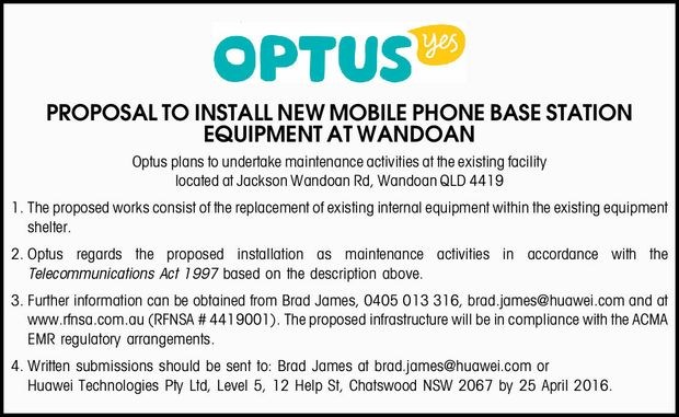 Optus plans to undertake maintenance activities at the existing facility located at Jackson Wando...