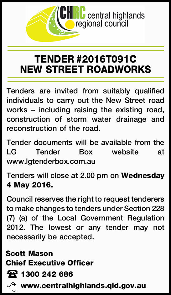 Tenders are invited from suitably qualified individuals to carry out the New Street road works &n...