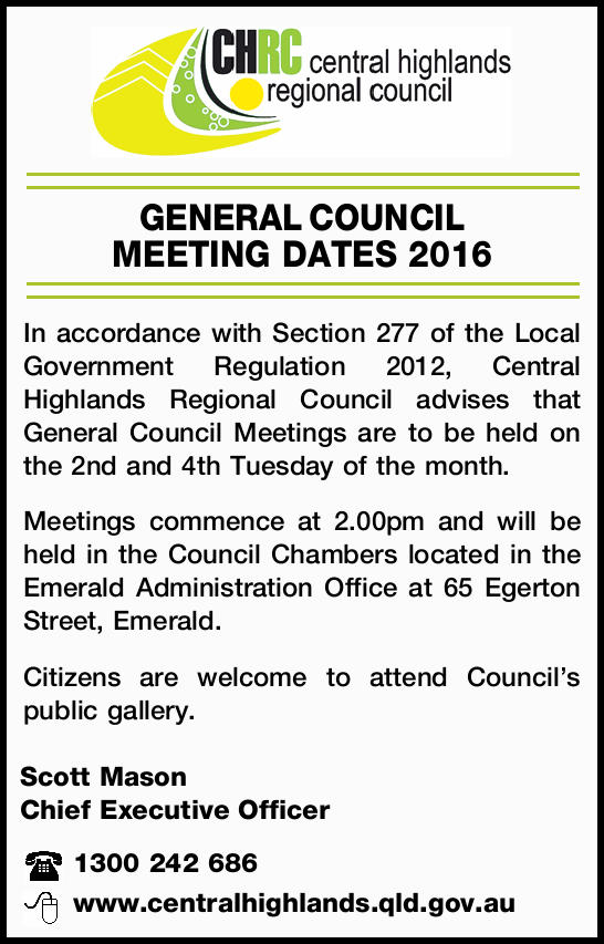 GENERAL COUNCIL MEETING DATES 2016   In accordance with Section 277 of the Local Government R...