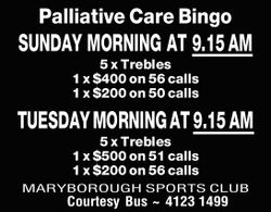 SUNDAY MORNING AT 9.15AM 5 x Trebles 1 x $400 on 56 calls 1 x $200 on 50 calls TUESDAY MORNING AT...