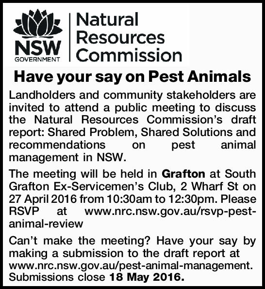 Have your say on Pest Animals Landholders and community stakeholders are invited to attend a publ...