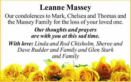 Our condolences to Mark, Chelsea and Thomas and the Massey Family for the loss of your love...