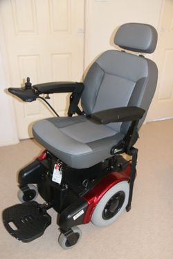 Electric motorised red wheelchair Cougar 14 ShopRider top of the line mid-wheel. Zero turn for tight...