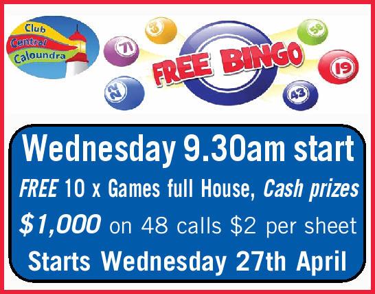 FREE BINGO   Wednesday 9.30am start   FREE 10 x Games full House, Cash prizes   $1,00...