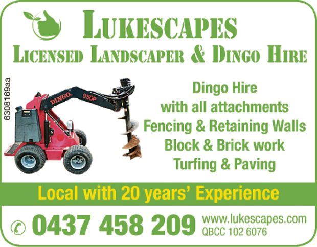 Licensed Landscaper & Dingo Hire