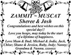 ZAMMIT ~ MUSCAT Sheree & Josh Congratulations and best wishes on this special day!! Love you...