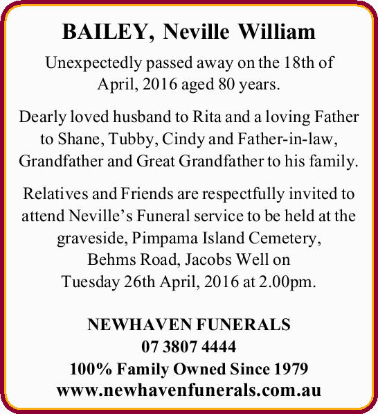 BAILEY, Neville William